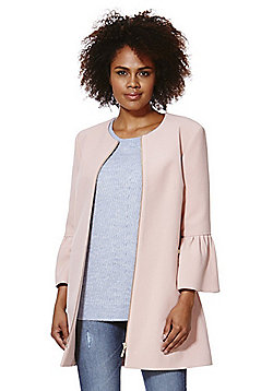 F&F Crepe Collarless Bell Sleeve Coat - Blush pink
