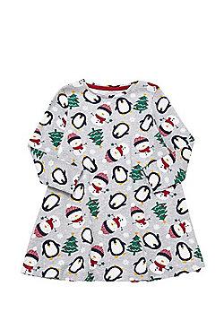 F&F Penguin and Snowman Print Christmas Dress - Grey