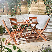 VonHaus 5 Piece Outdoor Wooden Dining Set – Octagonal Table and 4 Chair Dining Set – Made from 100% Hardwood