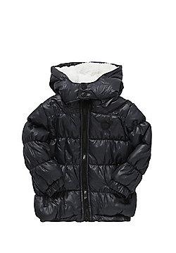 Minoti Wet Look Hooded Puffer Jacket - Grey