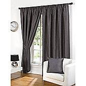 Hamilton McBride Faux Silk Pencil Pleat Grey Curtains - 90x90 Inches (229x229cm) Includes Tiebacks
