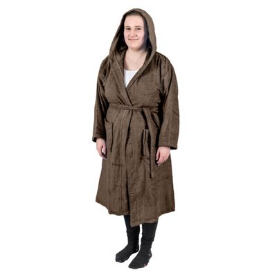 Homescapes Chestnut Brown 100% Combed Egyptian Cotton Hooded Adults Unisex Bathrobe, XXL