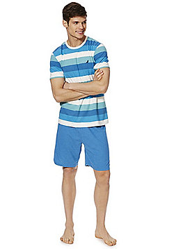 F&F Striped T-Shirt and Shorts Loungewear Set - Blue