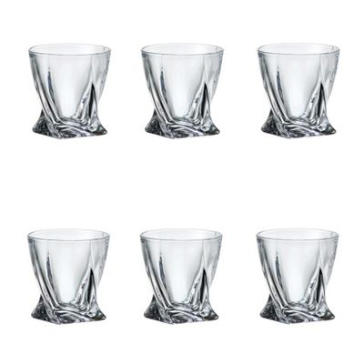 Pack of 6 Quadro Deluxe Bohemian Crystal 340ml Whisky Tumbler Glasses Twisted Shaped Design