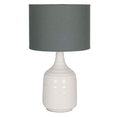 White Ribbed Ceramic Lamp with Grey Linen Shade