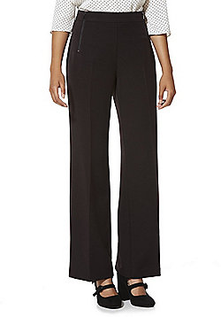 F&F Zip Detail Wide Leg Trousers - Black