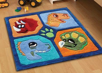 Dinosaurs, Plush Bedroom Rug 90 x 90 cm