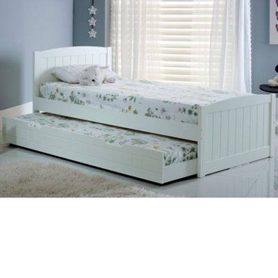 Happy Beds Denver Wood Guest Bed and Underbed Trundle with 2 Memory Foam Mattresses - White - 3ft Single