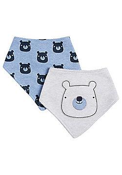 F&F 2 Pack of Bear Print Dribble Bibs - Grey