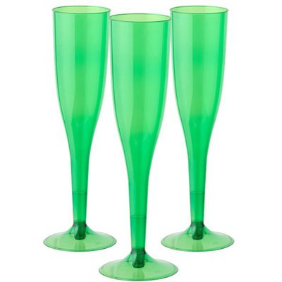 Green Plastic Champagne Glasses - 162ml - 20 Pack
