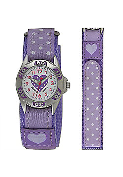 Childrens Purple Polka Dot Velcro Strap Watch