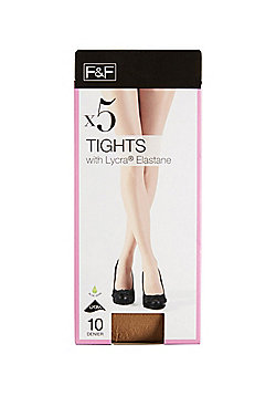 F&F 5 Pack of 10 Denier Tights with Lycra® - Natural