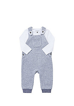 F&F Bodysuit and Striped Jersey Dungarees Set - Navy