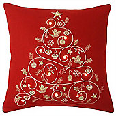 Riva Home Light Up Christmas Tree Red Cushion Cover - 45x45cm
