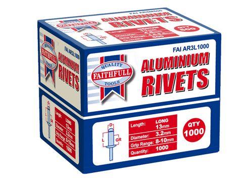 Faithfull Aluminium Rivets 3.2mm x 13mm Long Bulk Pack of 1000