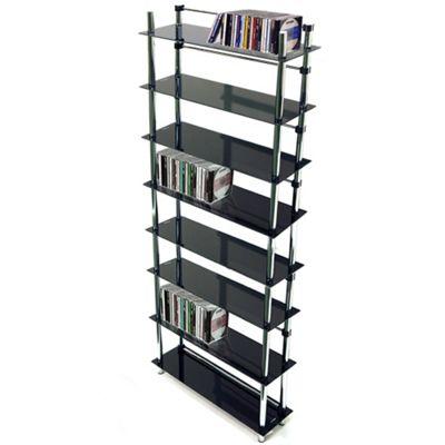 Maxwell - 8 Tier Dvd / Blu-ray / Cd / Media Storage Shelves - Black / Silver