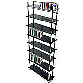 Maxwell - 8 Tier Dvd / Blu-ray / Cd / Media Storage Shelves - Black / Silver