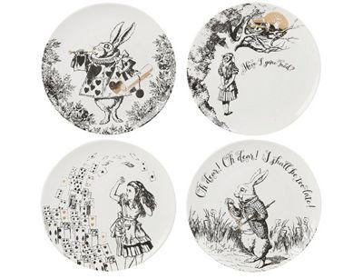 Creative Tops Alice in Wonderland Set of 4 Cheese Dessert Side Plates Plate