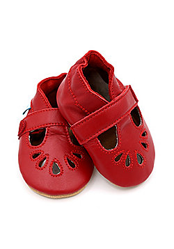 Dotty Fish Soft Leather Baby & Toddler Shoes – Girls Red T-Bar Design - Red