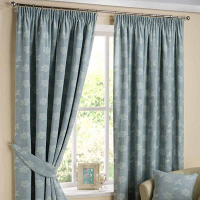 Homescapes Duck Egg Blue Ready Made Linen Curtain Pair Tapestry Floral Design 90x72