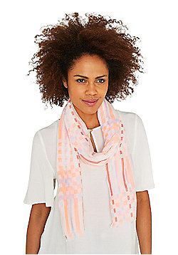 F&F Coral Windowpane Check Frayed Ends Scarf - Cream & Pink