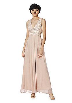 AX Paris Lace Bodice Chiffon Maxi Dress - Pink