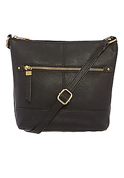 F&F Grained Cross-Body Bucket Bag Black One Size