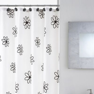 Modern Makeover Floral Shower Curtain with Hooks