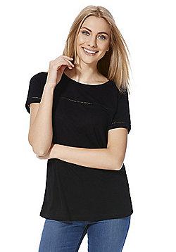 Jacqueline De Yong Ladder Insert T-Shirt - Black