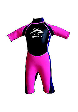 Konfidence Girls Shorty Wetsuits Navy/Pink - Pink