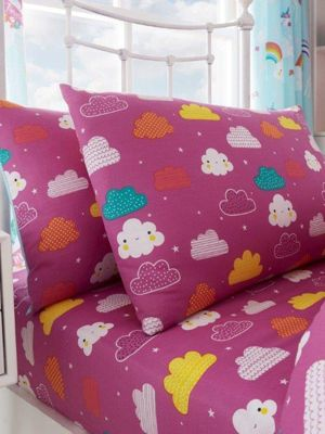 Clouds Single Fitted Sheet and Pillowcase Set
