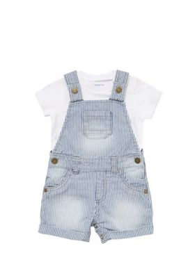 F&F Bodysuit and Striped Dungarees Set Blue 9-12 months