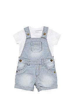 F&F Bodysuit and Striped Dungarees Set - Blue