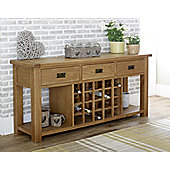 Worcester - Oak Sideboard / Large 3 Drawers With Wine Rack