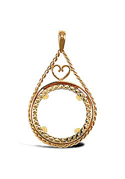 Jewelco London 9ct Solid Gold casted full-size Drop style Sovereign coin pendant mount