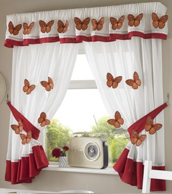 Butterfly Kitchen Curtains 46X42