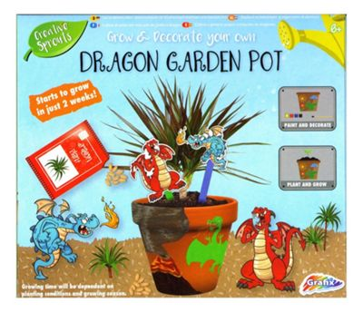Grafix Grow & Paint Your Own Dragon Garden Pot Kids Creative Craft Set