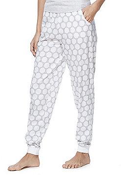 F&F Spot Cuffed Lounge Pants - White & Grey