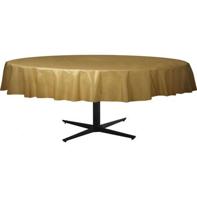 Gold Round Tablecover - Plastic - 86cm x 2.1m