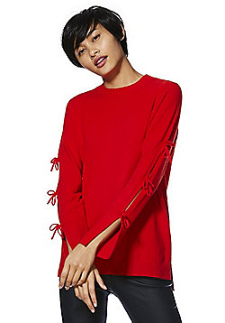 F&F Cut-Out Bow Sleeve Jumper - Red