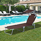 Outsunny Reclining Lounger Adjustable Portable Brown