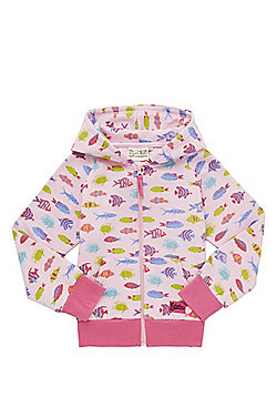 Babeskin Fish Print Zip-Through Hoodie - Pink & Multi