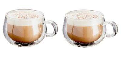 Judge Borosilicate Glass Double Walled Heat Resistant Glass Cappuccino Glasses Set of 2 225ml