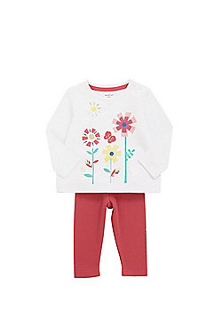 F&F Flower Embroidered Top and Leggings Set - Multi
