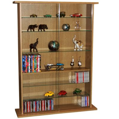 Boston - Glass Collectable Display Cabinet / Cd Dvd Storage Shelves - Oak