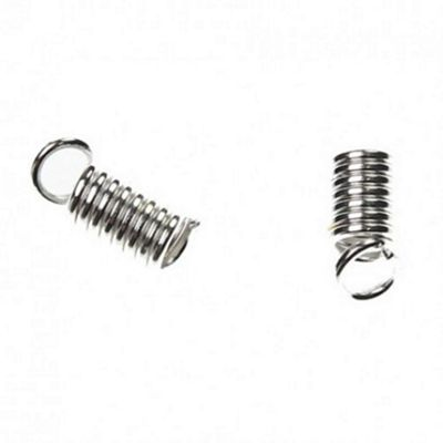Spring Cord Ends - Silver - 50 Pack