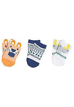 F&F 3 Pair Pack of Animal Ankle Socks - Multi