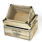 Set of 2 Vintage Wooden Storage Crates
