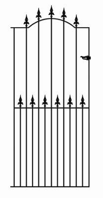 Wrought Iron Style Spear Top Tall Side Garden Gate 76cm GAP x 198cm High
