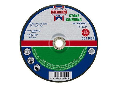 Faithfull Grinding Disc for Stone Depressed Centre 230 x 6 x 22mm